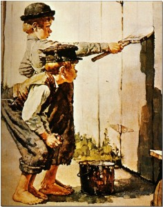 __1936__norman_rockwell___tom_sawyer_badigeonne_la_palissade_tom_sawyer_whitewashes_the_palisade__huile_sur_toile__44x35_cm